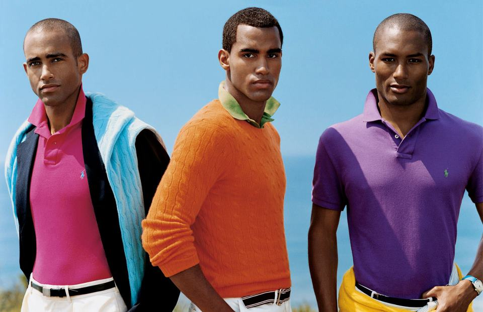 RALPH-LAUREN-BLACK-MODELS-COLORFUL-SHIRTS
