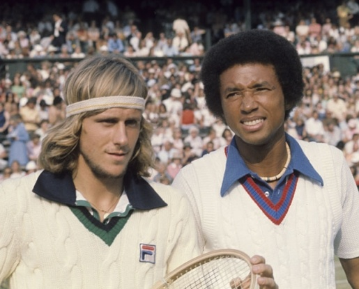 tennis Borg and Ashe sweaters 1975