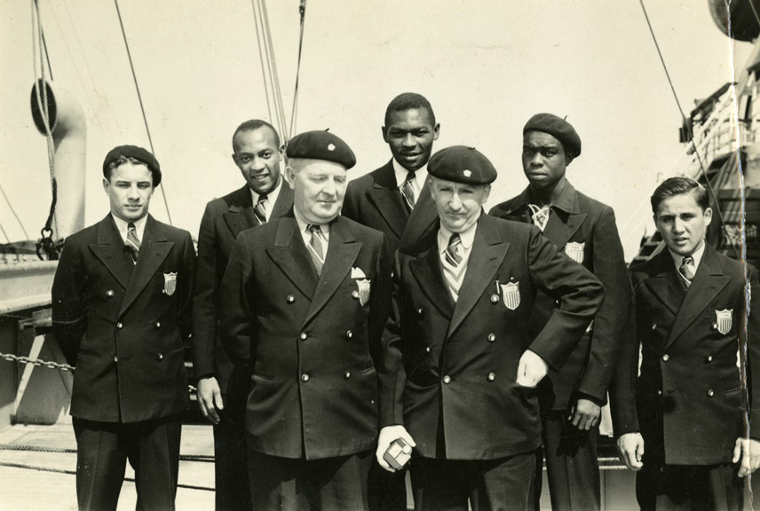 Jesse Owens and members of the United States Olympic team on the boat ride to Berlin, 1936