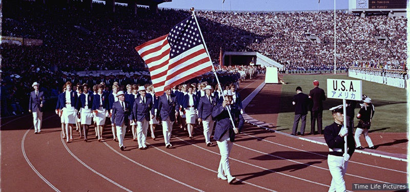 US team marching into the stadium during the opening ceremonies of the Summer Olympics. (Photo by John Dominis/The LIFE Picture Collection/Getty Images)