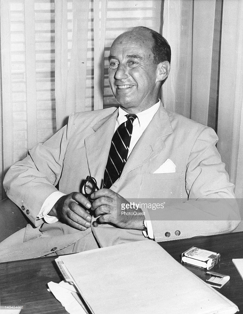 Chicago, July, 1952 - Governor Adlai Stevenson of Illinois relaxes in his office at the Chicago State Office Building at the time he was a prospective nominee for the Democratic Party's Presidential candidate.