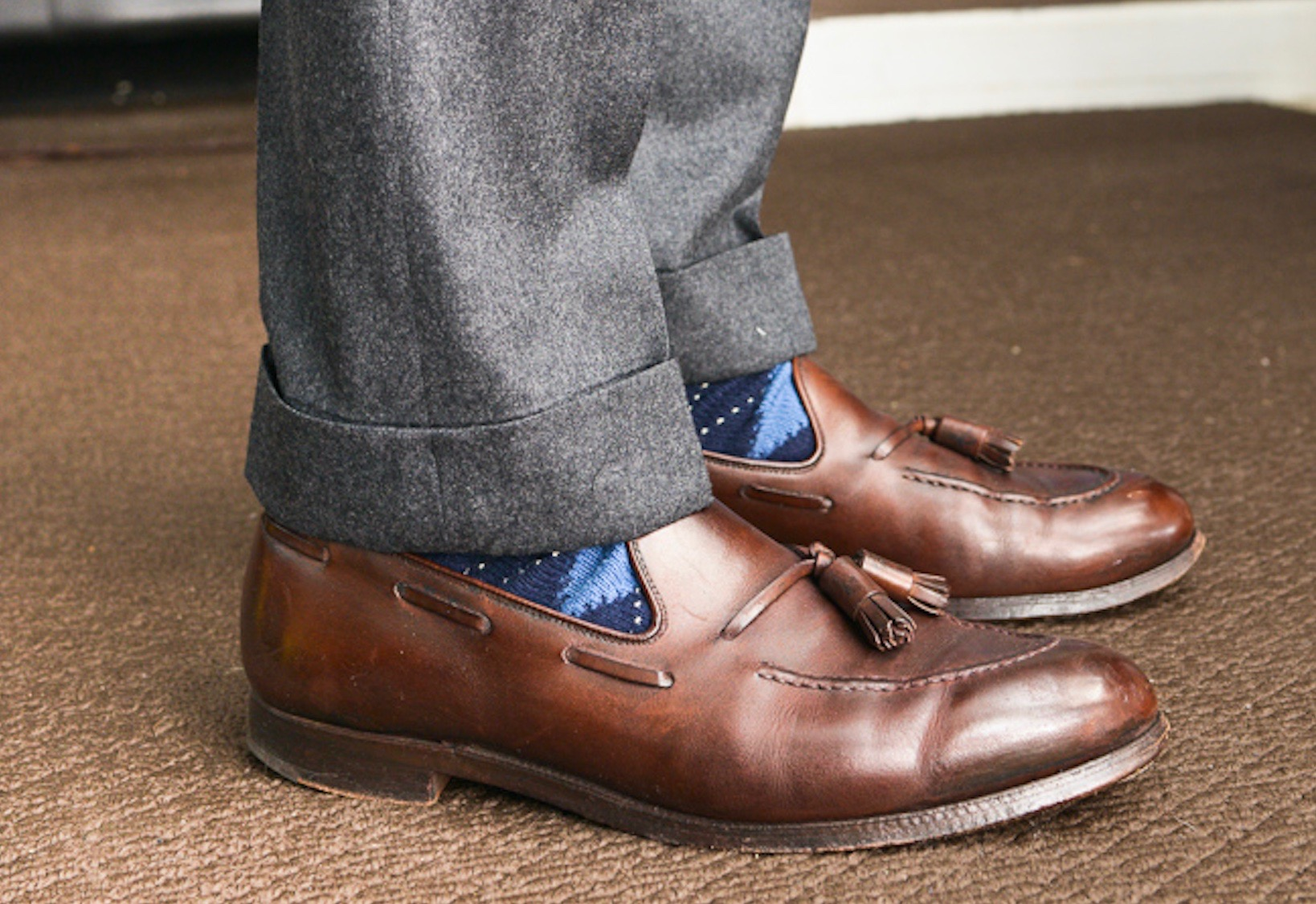 5256dfdeabb Full Rise Tapered Leg Grey Flannels